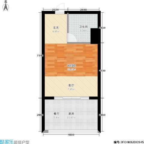 嘉盛国际广场1卫1厨49.00㎡户型图