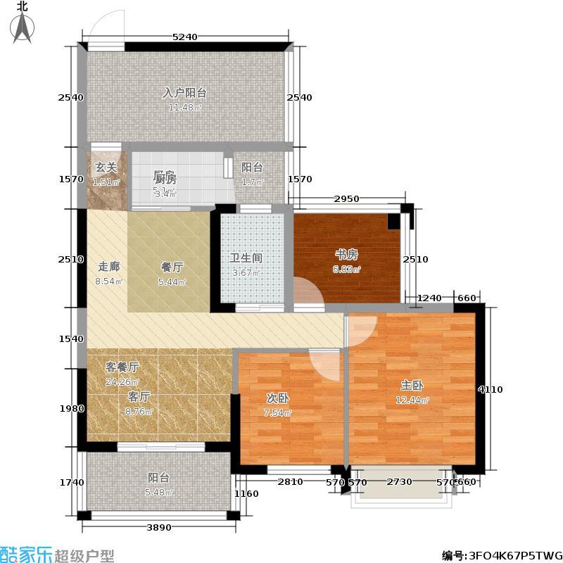 天誉华庭87.83㎡2#标准层3-27层A户型3室2厅1卫