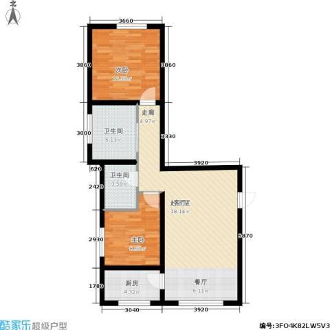 天馨逸家2室0厅2卫1厨92.00㎡户型图