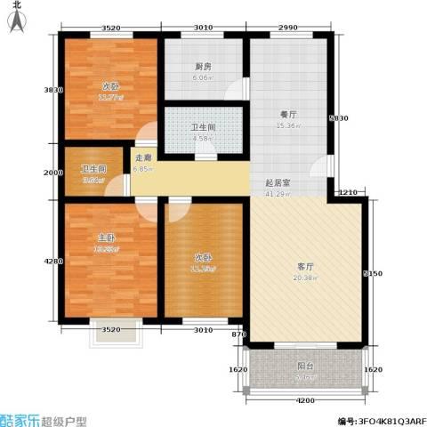 温泉公寓3室0厅2卫1厨140.00㎡户型图