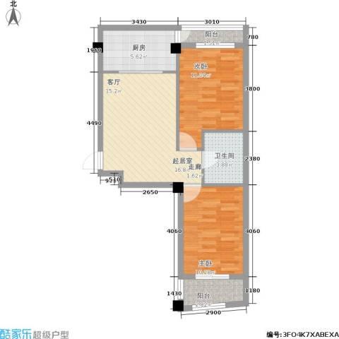 光伸绿洲半岛2室0厅1卫1厨60.00㎡户型图