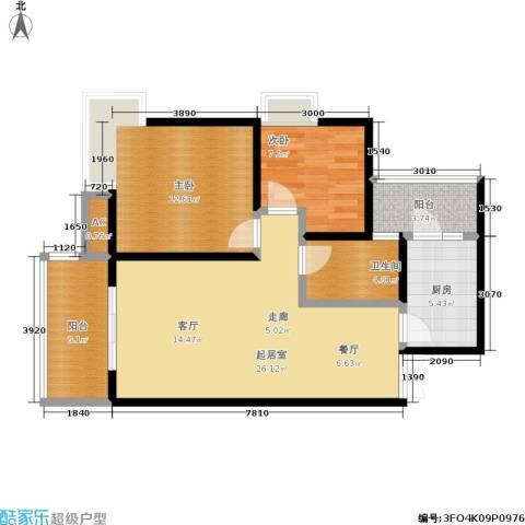 森岭居2室0厅1卫1厨68.00㎡户型图