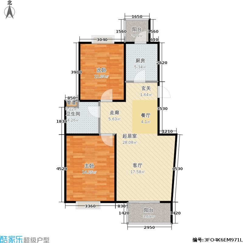 现代城B1户型2室2厅1卫户型
