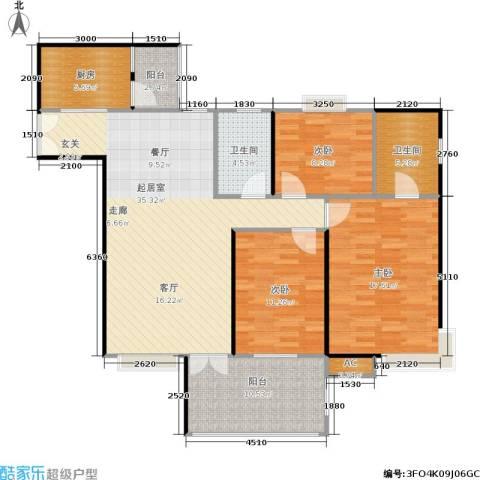 森岭居3室0厅2卫1厨101.99㎡户型图