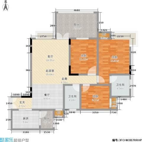 森岭居3室0厅2卫1厨100.66㎡户型图