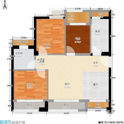 泉舜泉水湾3室0厅1卫1厨91.00㎡户型图