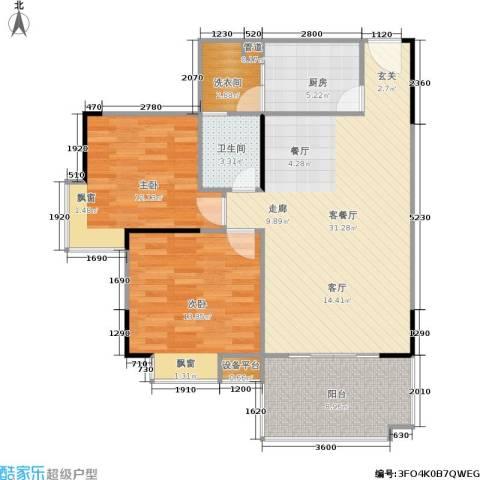 福星颐美香庭2室1厅1卫1厨78.46㎡户型图