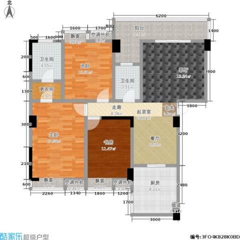 湘江北尚3室0厅2卫1厨126.00㎡户型图