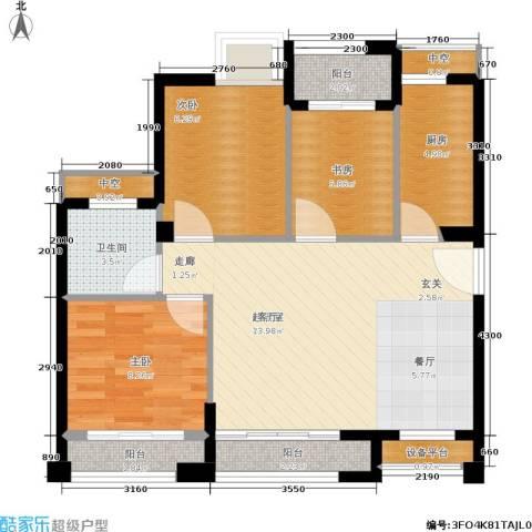 泉舜泉水湾3室0厅1卫1厨92.00㎡户型图