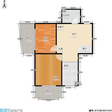 正大城市花园2室1厅1卫1厨86.00㎡户型图