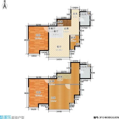 诚基中心3室1厅2卫1厨87.78㎡户型图