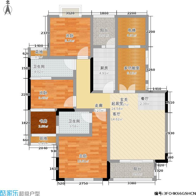 旭阳台北城94.00㎡一梯一户电梯入户典藏3+1户型 套内约80㎡ 使用面积也约94㎡户型3室2厅2卫