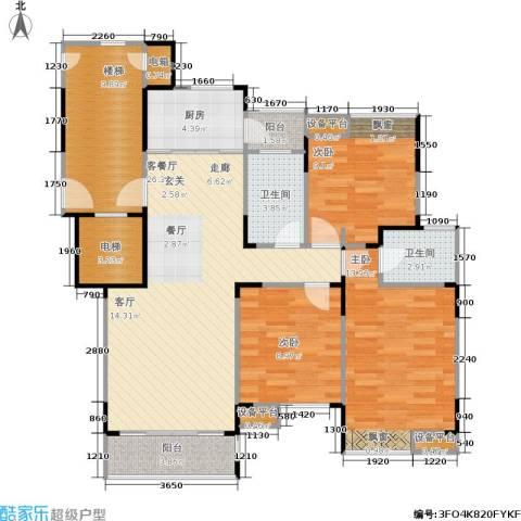 上寓3室1厅2卫1厨99.00㎡户型图