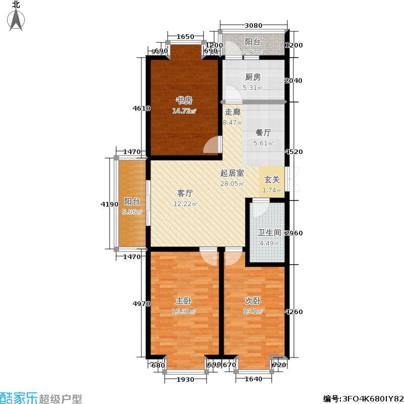 尚东明珠A9户型 三室两厅一卫户型3室2厅1卫