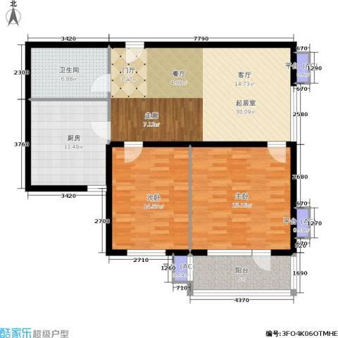 水晶公寓2室0厅1卫1厨124.00㎡户型图
