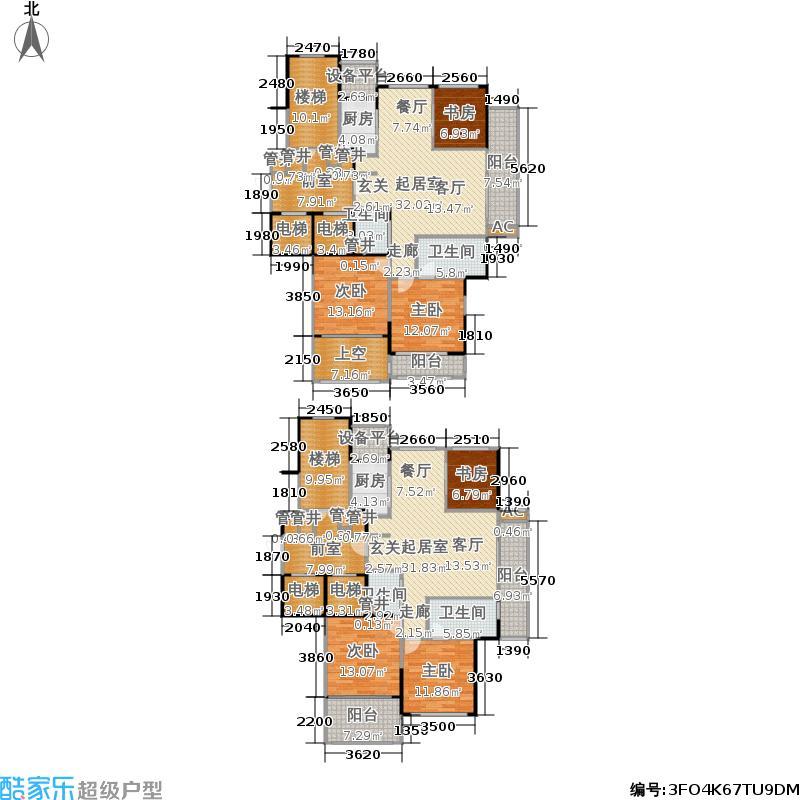 中江浅水湾E户型 约135平米户型3室2厅2卫