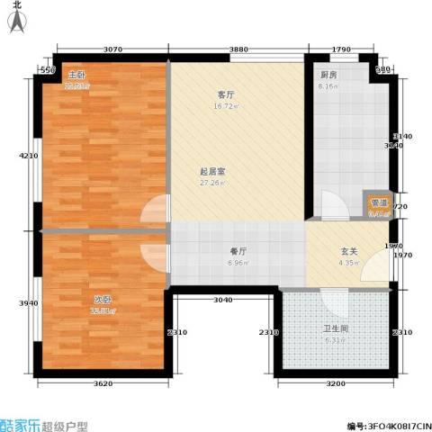 御览长安2室0厅1卫1厨79.00㎡户型图