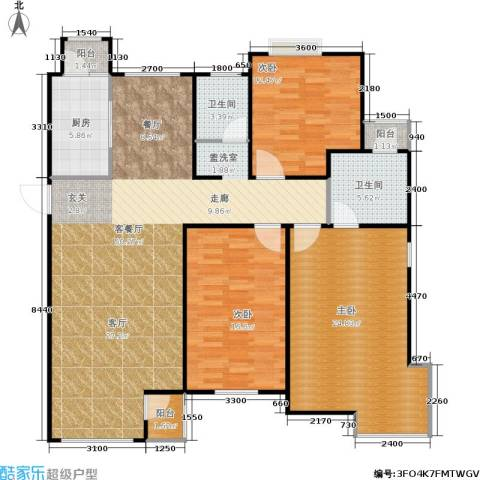 中冶东山庭院3室1厅2卫1厨143.00㎡户型图
