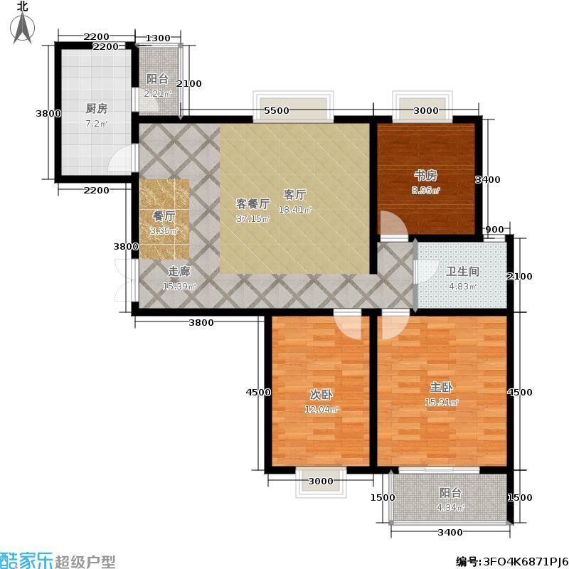 山水泉城120.04㎡K4户型3室2厅1卫