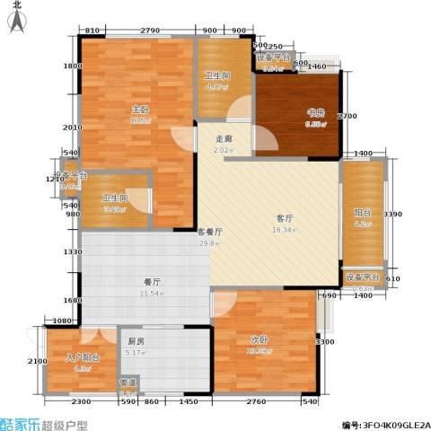 万象时代3室1厅2卫1厨93.98㎡户型图