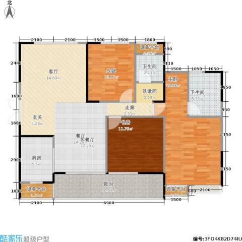 长房南屏锦源3室1厅2卫1厨122.00㎡户型图