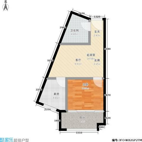 香港国际1室0厅1卫1厨40.00㎡户型图