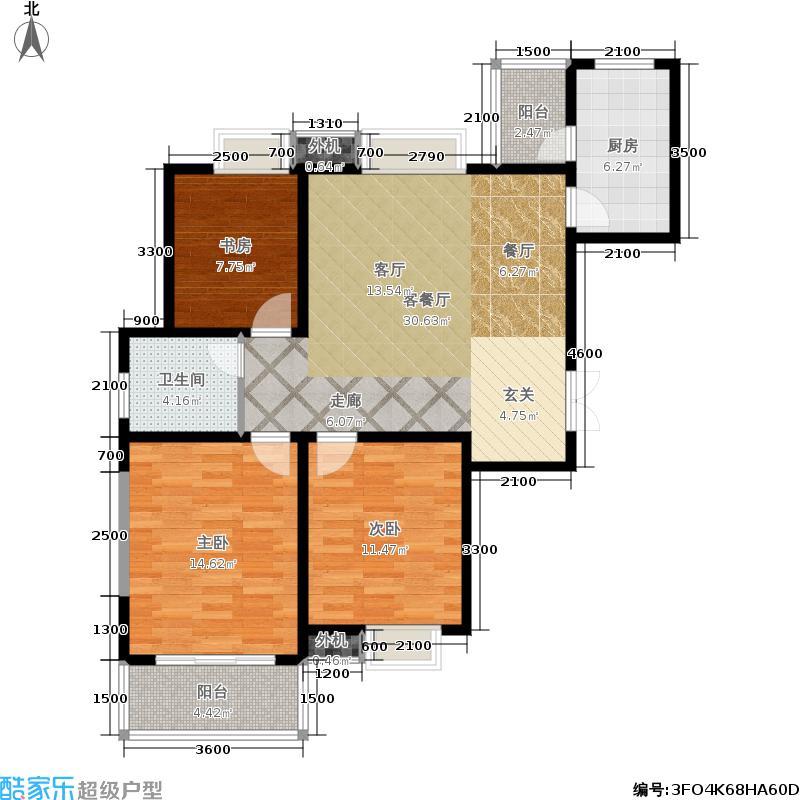 山水泉城107.42㎡L1户型3室2厅1卫