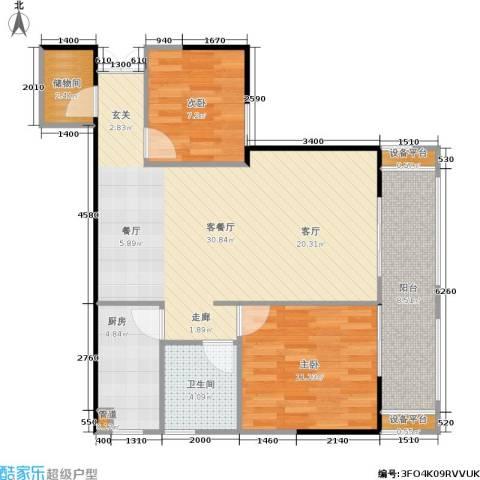万象时代2室1厅1卫1厨76.53㎡户型图