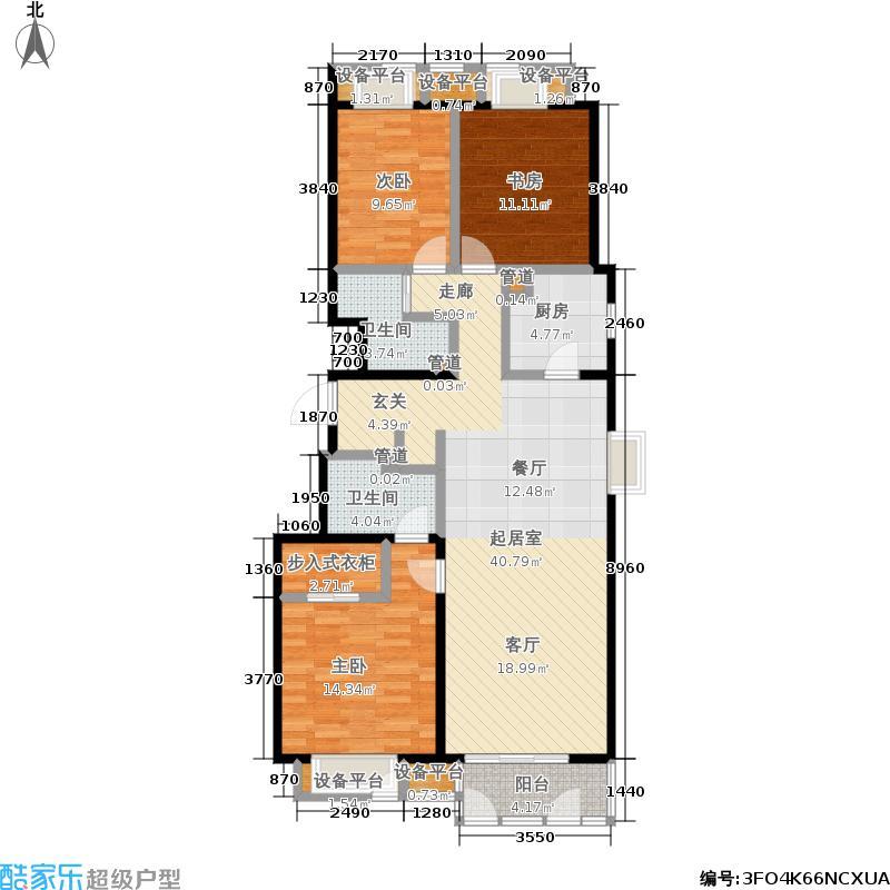 太原万科蓝山126.00㎡B户型 三室两厅两卫户型3室2厅2卫