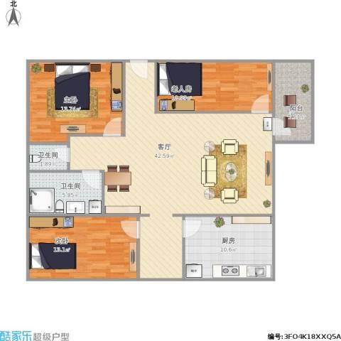 竹苑新村   彩虹阁3室1厅2卫1厨140.00㎡户型图