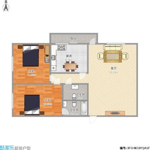 阜康大厦2室1厅2卫1厨98.00㎡户型图