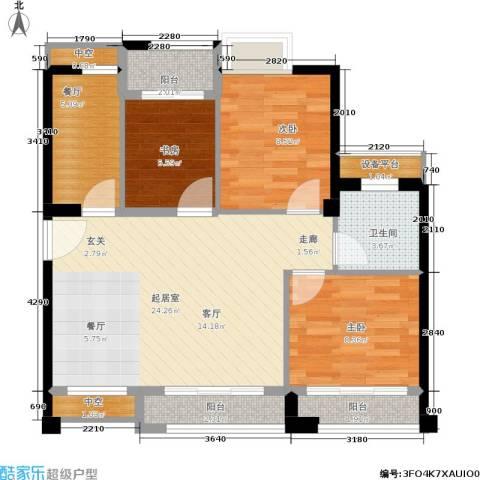 泉舜泉水湾3室1厅1卫0厨91.00㎡户型图