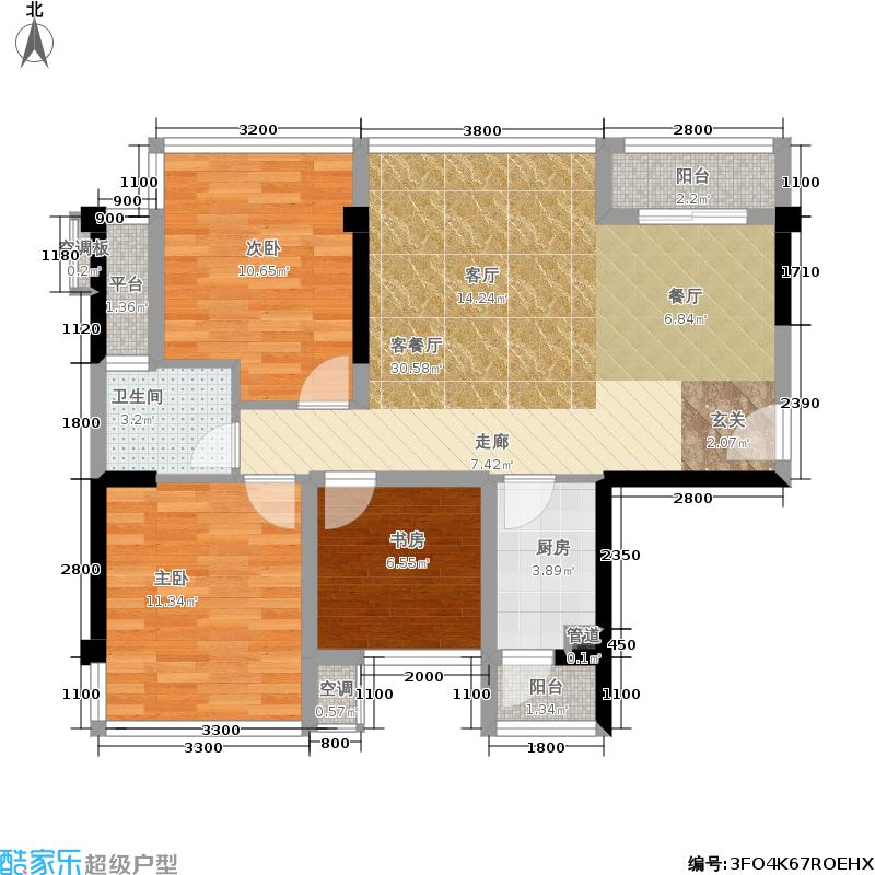 红日学府红日学府户型图82.38㎡2+1房(7/7张)户型3室2厅1卫