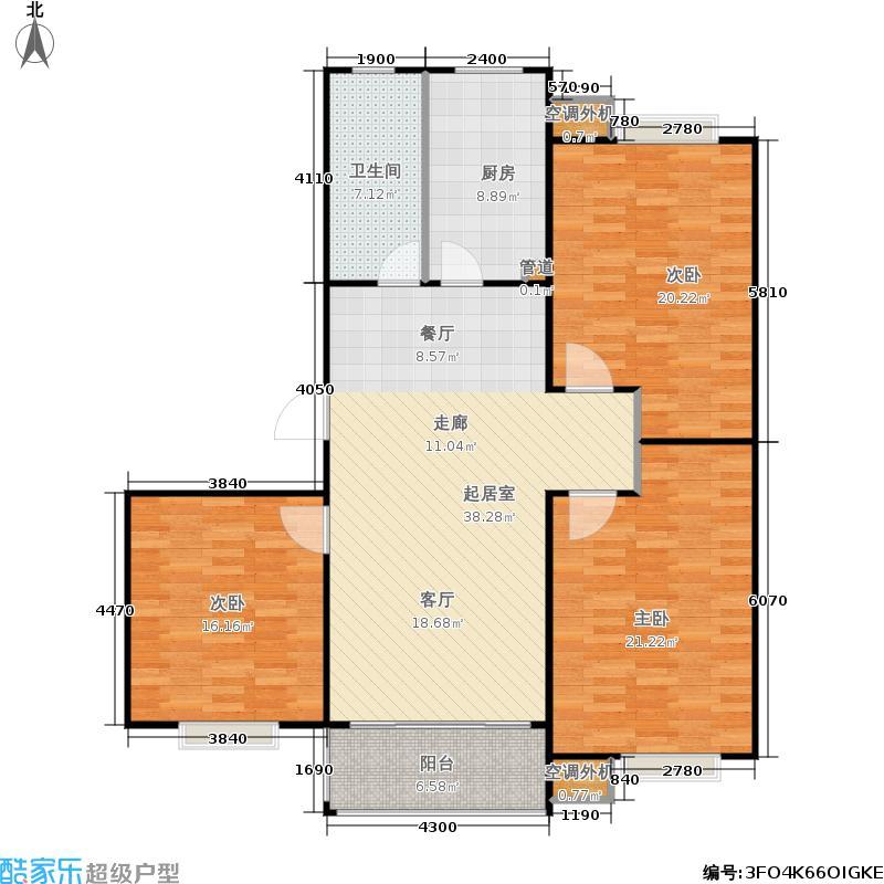 华夏青城127.83㎡华夏青城户型图一期3号楼H户型(已售罄)(8/11张)户型3室2厅1卫