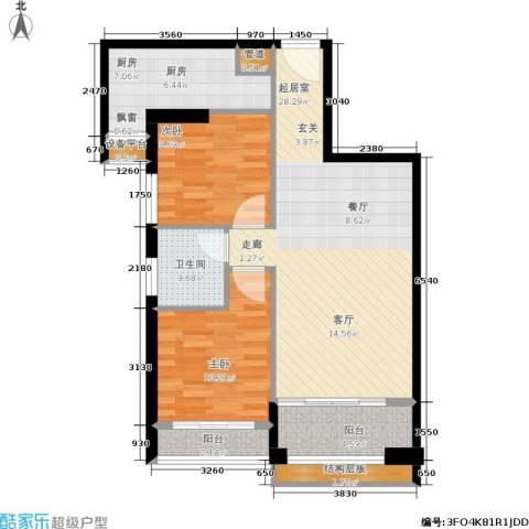 泉舜泉水湾2室0厅1卫1厨88.00㎡户型图