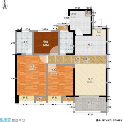 华润橡树湾3室1厅2卫1厨113.00㎡户型图