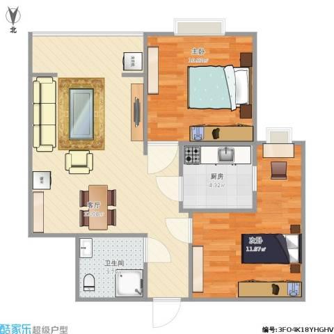 奥林第一城2室1厅1卫1厨78.00㎡户型图