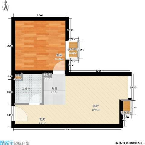 金品会展世界城1室1厅1卫0厨51.00㎡户型图