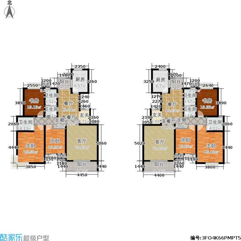 山水泉城8#背三室两厅一厨两卫户型