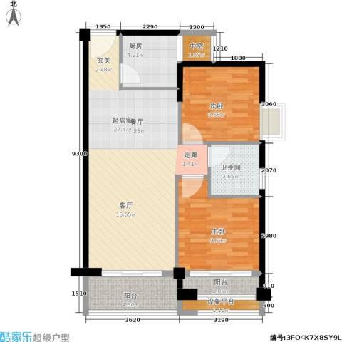 泉舜泉水湾2室0厅1卫1厨86.00㎡户型图