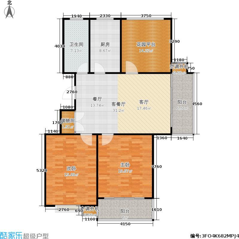 华夏青城高层M户型2室1厅1卫1厨