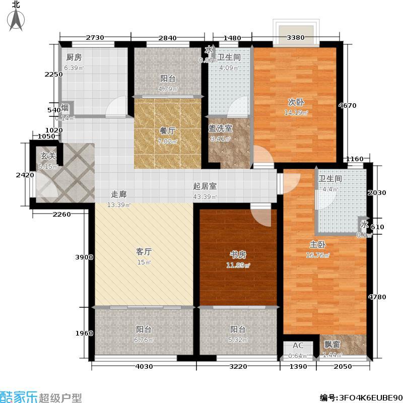 瑞驰・舜耕上城134.00㎡C户型3室2厅2卫