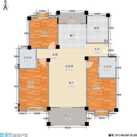 万里阳光水岸3室0厅2卫1厨132.00㎡户型图