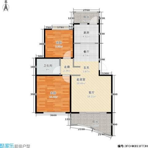 枫桥水郡2室0厅1卫1厨90.00㎡户型图