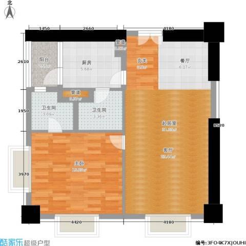 田园国际公寓1室0厅2卫1厨103.00㎡户型图