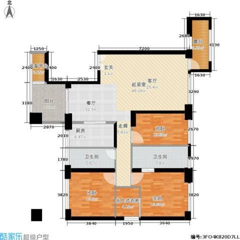 中骏天峰3室0厅2卫1厨155.00㎡户型图