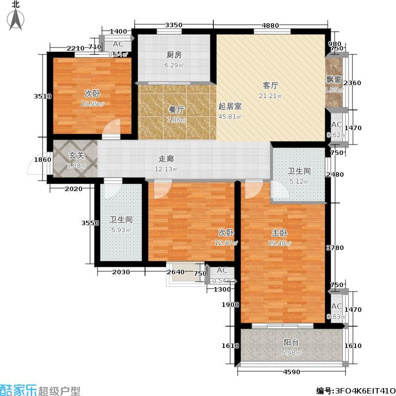 祥泰・森林河湾130.00㎡C6,3室1厅2卫户型