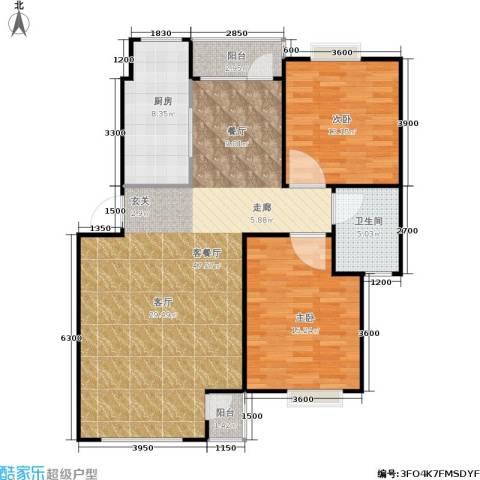 中冶东山庭院2室1厅1卫1厨114.00㎡户型图