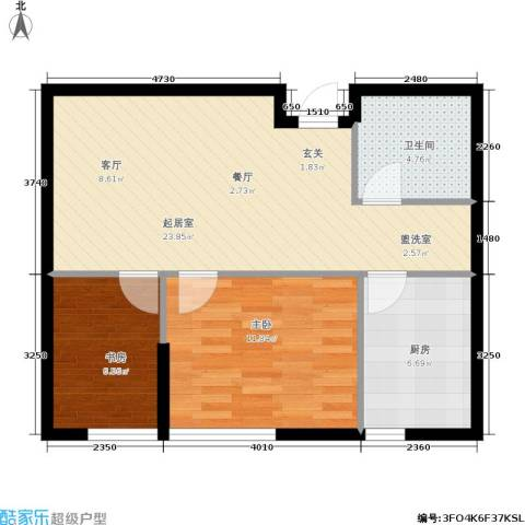 银帆国际2室0厅1卫1厨60.00㎡户型图