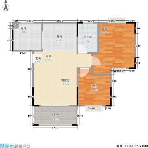 莲花湾畔2室1厅1卫1厨89.00㎡户型图